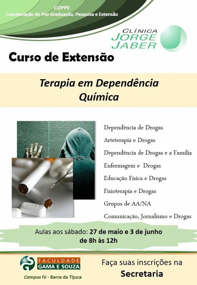 Inscrições abertas para Curso de Extensão sobre Terapia em Dependência Química