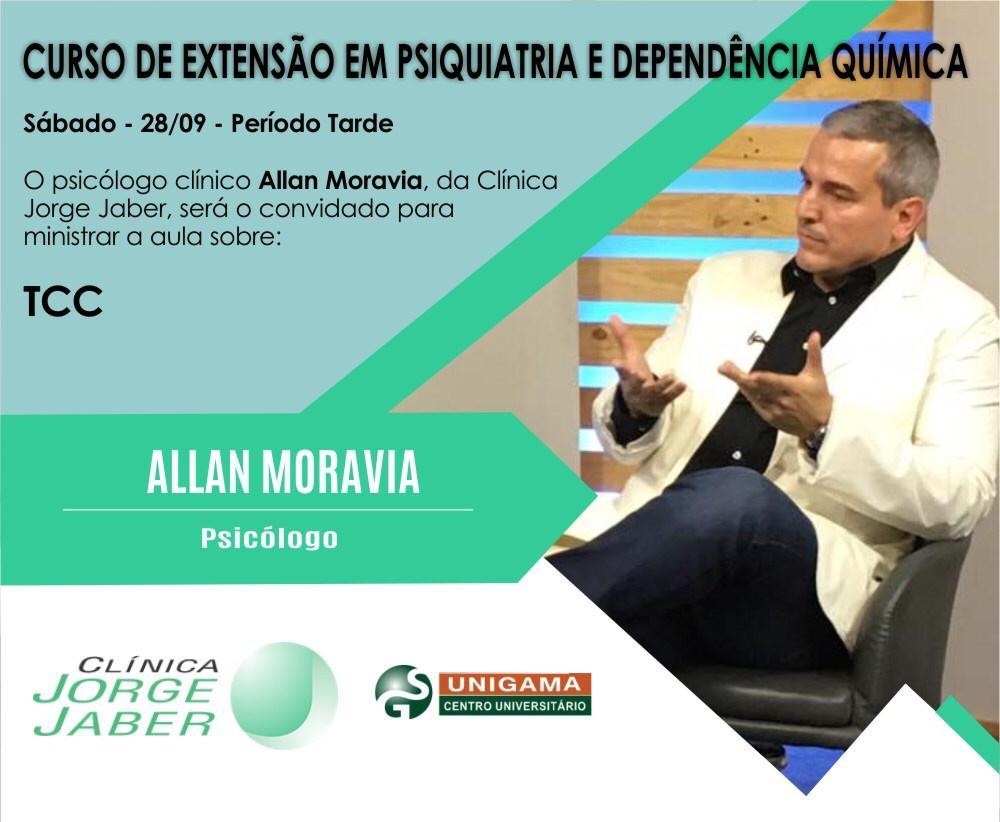Psicólogo Allan Moravia é um dos palestrantes deste sábado do Curso de Extensão em Psiquiatria e Dependência Química