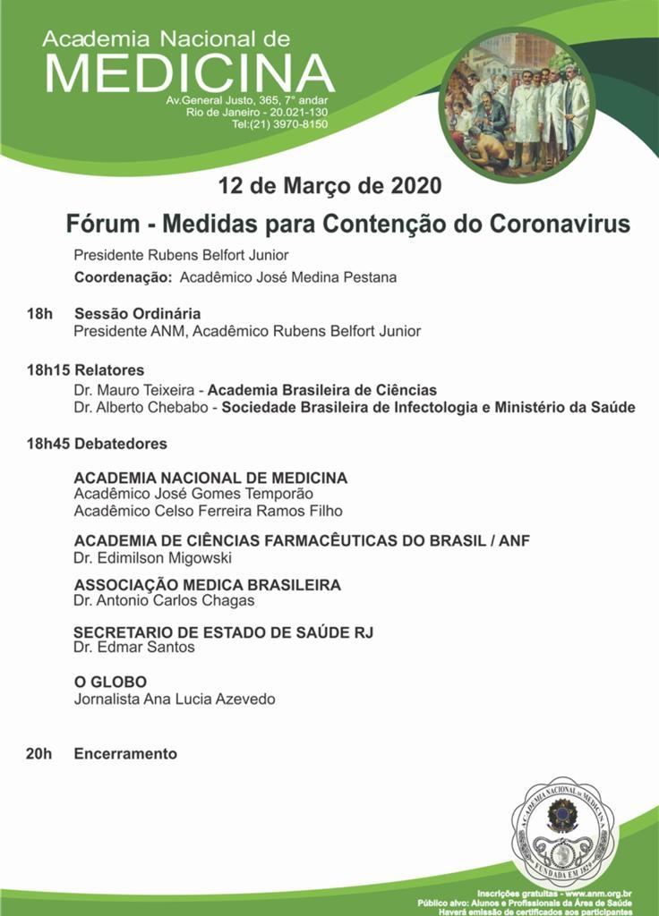 Academia Nacional de Medicina promove fórum sobre o Coronavírus nesta quinta-feira