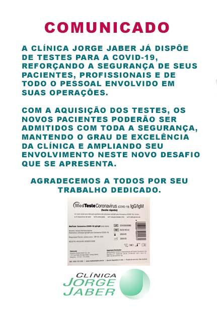 Comunicado: Clínica Jorge Jaber já conta com testes para covid-19
