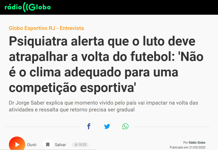 Dr. Jorge Jaber participa de programa Globo Esportivo, da Rádio Globo. Confira!