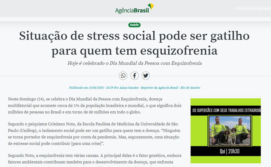Dr. Jorge Jaber fala sobre esquizofrenia em matéria da Agência Brasil
