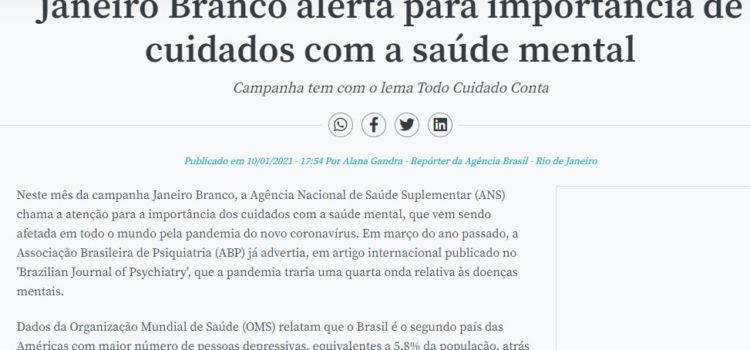 Emanuella Halabi fala sobre o Janeiro Branco em matéria da Agência Brasil