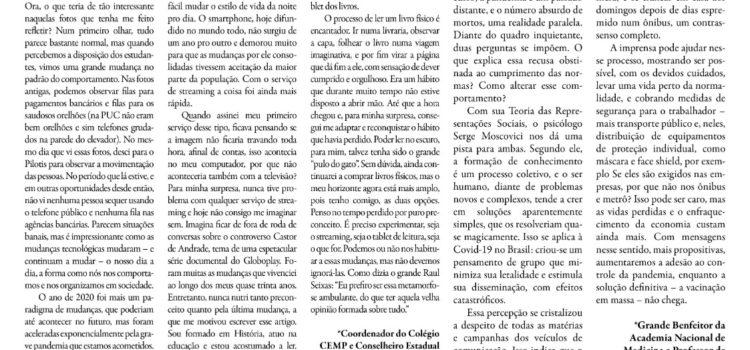 Artigo do Dr. Jorge Jaber no Correio da Manhã aborda comportamento da sociedade na prevenção ao novo coronavírus