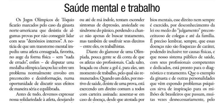 Artigo do Dr. Jorge Jaber no Correio da Manhã: Saúde mental e trabalho
