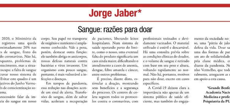 Artigo do Dr. Jorge Jaber no Correio da Manhã: Sangue: razões para doar